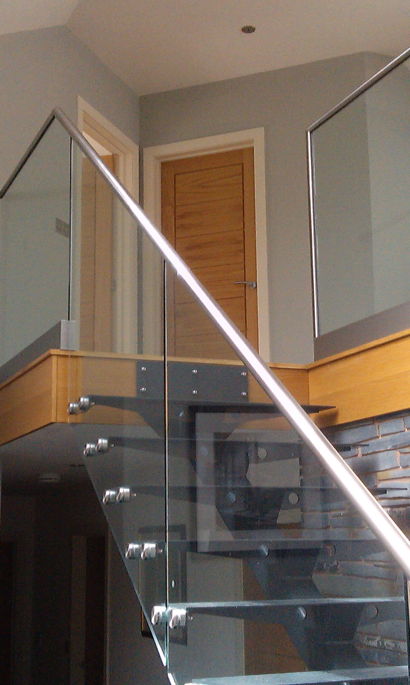 steel  u0026 glass open plan staircase with wooden treads
