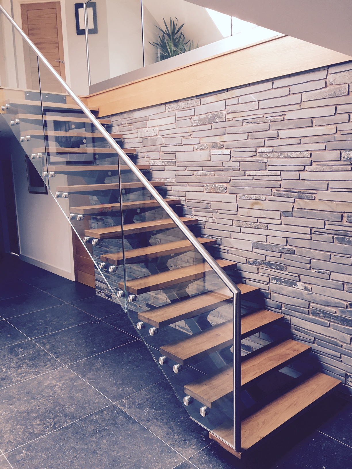 Steel Glass Open Plan Staircase With Wooden Treads The Glass