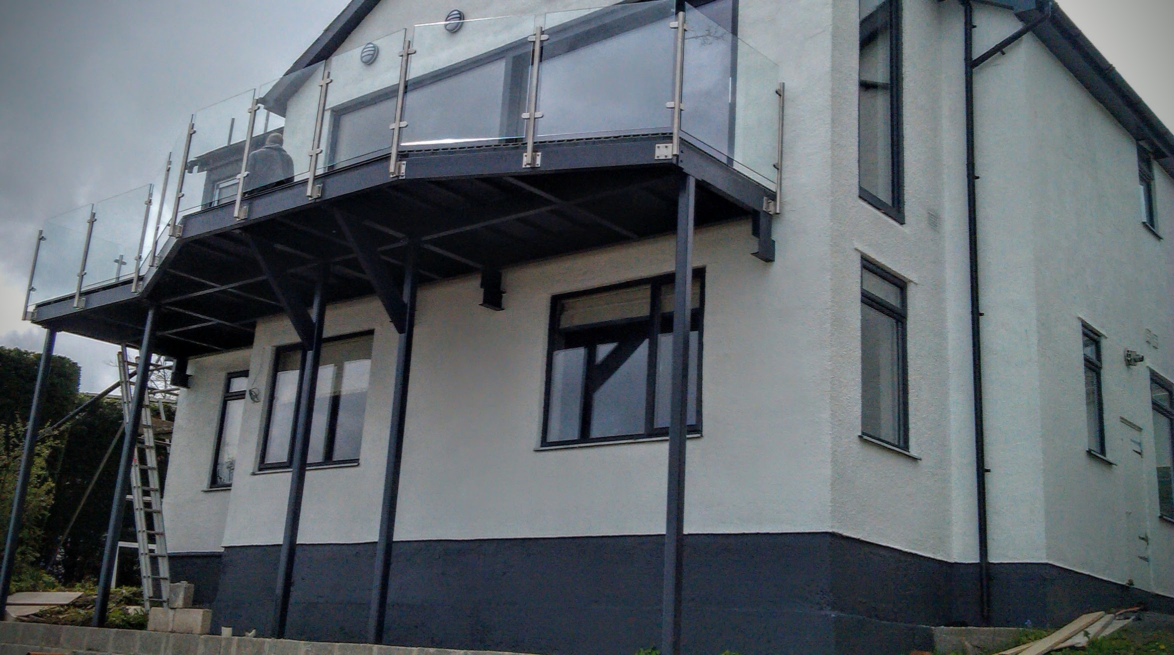 Steel balcony supply installation the glass balustrade for Balcony company